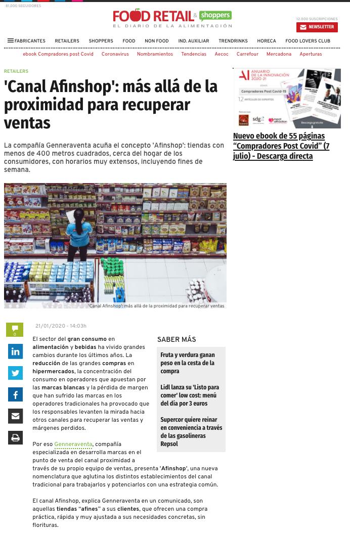 Afinshop: el nuevo canal de ventas que busca recuperar márgenes perdidos en alimentación