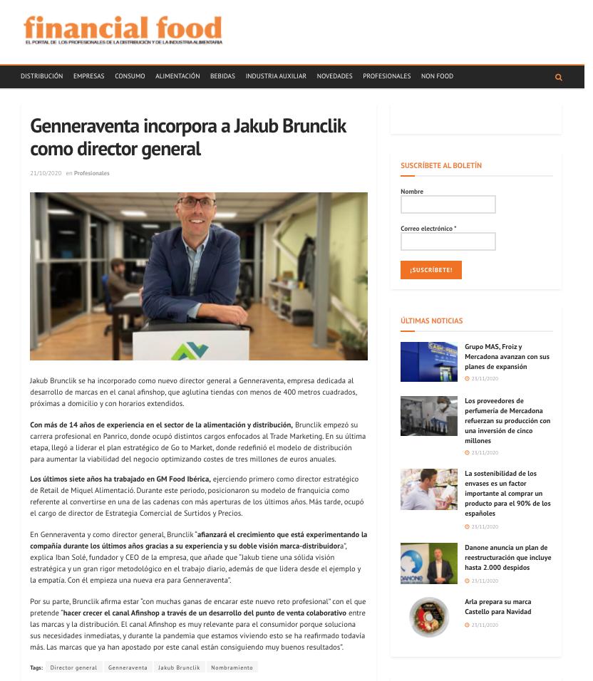 Genneraventa incorpora a Jakub Brunclik como director general