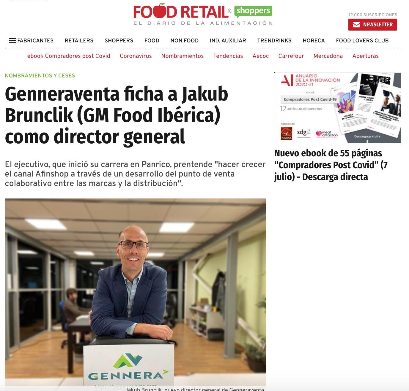 Genneraventa ficha a Jakub Brunclik (GM Food Ibérica) como Director General